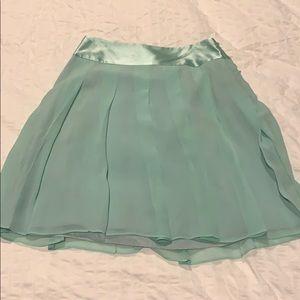 Aqua pleated silk skirt